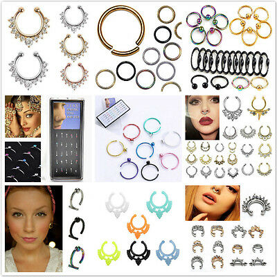 Fake Septum Clicker Unisex Nose Ring Non Piercing Hanger Clip On Jewelry D CP