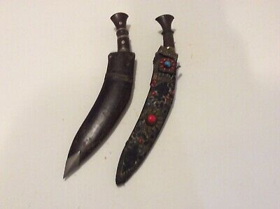 Pair Of Old Antique Nepalese Kukri Dagger Knife One With Stone Decoration