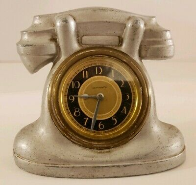 Vintage Working 1930's NEW HAVEN Clock Co. Wind-Up TELEPHONE Novelty Desk Clock