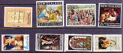 NZ mix of 8 Christmas Stamps as Scan 18003