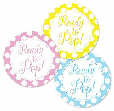 'Ready to Pop' baby shower stickers, 60mm, choice of 3 colours,for party favours