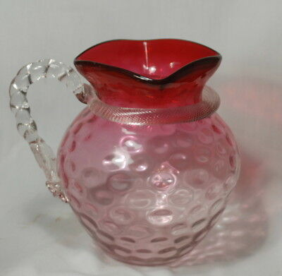 Victorian Reverse Moondrop Water Pitcher - Cranberry To Clear - Must See Handle
