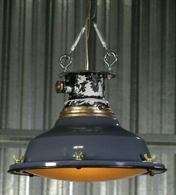 "Vtg 30s Porcelain 14"" industrial hanging explosion proof light REWIRED rare gray"