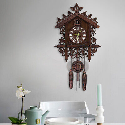Vintage Wooden Cuckoo Wall Clock Tree House Hanging Pendulum Weights Home Décor