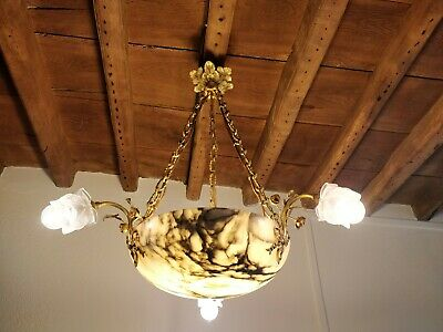 Vintage alabaster and brass ceiling pendant light, genuine French Art Deco