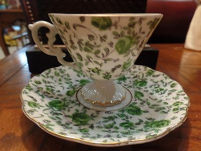 Green Roses Chintz Cup Saucer Footed Gold Trim Vintage