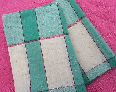 Pair Vintage French Retro Linen Metis Torchons Tea Towels Green Red And Cream