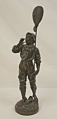"""Signed Rousseau Art Nouveau Spelter Metal Young Male Figurine Carving 15"""""""