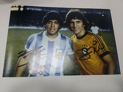 Diego Maradona And Zico Hand Signed  Autograph Photo