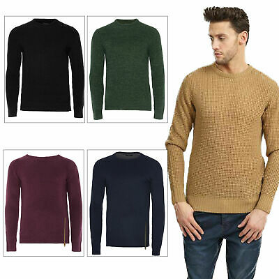 Brave Soul Mens Chunky Waffle Knit Jumper Classic Crew Neck Long Sleeve Sweater
