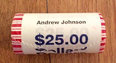 2011  Andrew Johnson  Unopened  Dollar  BANK ROLL 25 COINS - UNCIRCULATED