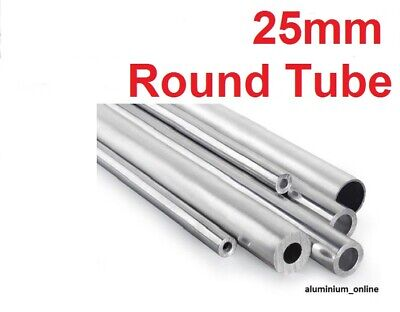 ALUMINIUM ROUND TUBE 25mm, 2 thickness, lengths up to 100mm - 2500mm