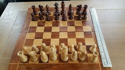 """Wooden Pieces Chess Set Folding Board Box Wood Hand Carved Gift Kids Toy 3"""" king"""