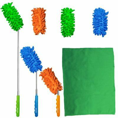 Malka Extendable Bendable Microfibre Duster Dusting Set With Extra Washable Dust