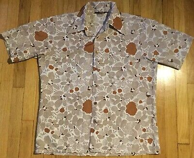 c684987a Vintage 70s JC PENNEY shirt L tan floral disco white short sleeve pointed  collar