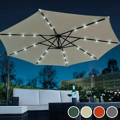 Garden Gear Cantilever Banana Sun Shade LED Parasol Patio 2.7m Hanging Umbrella