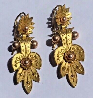 Mint!!  Antique Pinchbeck 2 color gold Etruscan Victorian large Ornate earrings