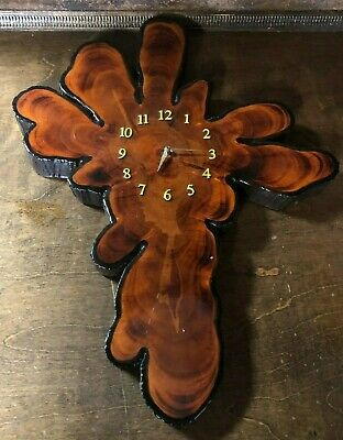 Vintage Mid Century Large Lacquered Cypress Tree Wood Wall Clock ~ Slab Wooden
