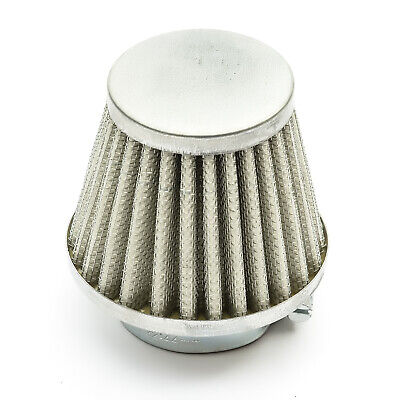 35mm Scooter Air Filter Silver Performance Mushroom Style Straight Neck
