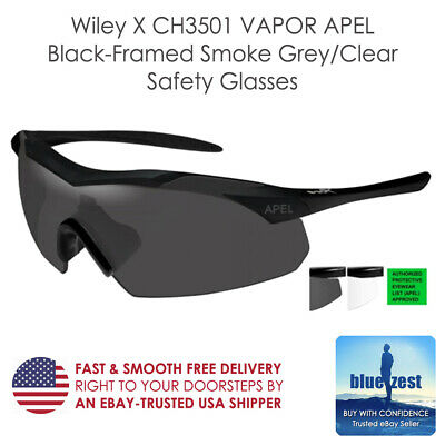 53cfb1c44690 Wiley X CH3501 VAPOR APEL Black-Framed Smoke Grey/Clear Safety Glasses  (Medium