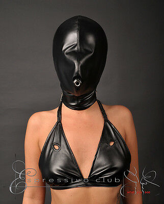 BDSM bondage maske Deprivationsmaske Isolations Vegan Lederhaube Gimp Kopfmaske