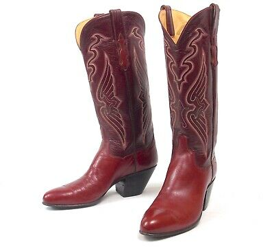 """Custom Cowboy Boots - Burgundy T.O. Stanley Womens Size 8.5M 14"""" Tall Excellent"""