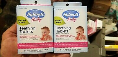 Hyland's Baby Natural Teething Tablets Fast Relief 135 Dissolving Homeopathic x2