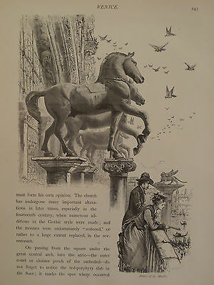 Horse's of St. Marks Basilica Venice Italy Antique Engraving 1878