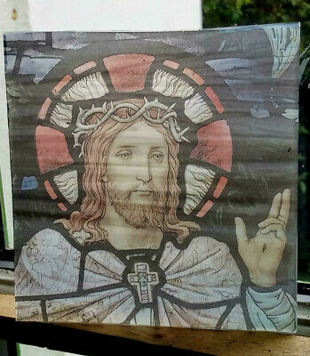 Stained Glass - Jesus Christ pane Kiln fired.transfered piece semi translucent