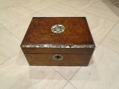 Antique Victorian Walnut Wood Mother Of Pearl Desk Top Storage  Sewing Box 1876