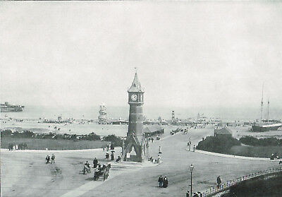Skegness Clock Tower & Beach Lincolnshire 1900 Antique Victorian Print ROC#106