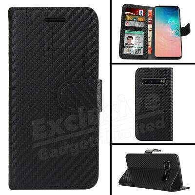 Slim Carbon Fiber Leather Case Wallet For Samsung Galaxy S8 S9 S10 Plus S10e NEw