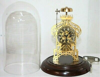 Vintage German Brass Skeleton Clock Under A Glass Dome W/ Passing Bell Strike.