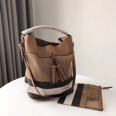 f19a1e1a5cb BURBERRY ASHBY LEATHER and Canvas Hobo Bag With Pink Leather Opening ...