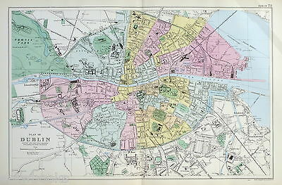 DUBLIN  - Original Antique Map / Street Plan - BACON , 1907