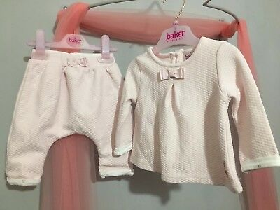 Baby Girls Designer Ted Baker Pink Quilted Outfit Top & Hareems 3-6m💫