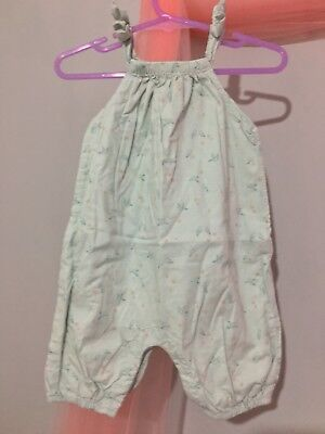 Cute Baby Girls Baby Gap Pale Mint Birds Print Summer Romper 3-6m🍦