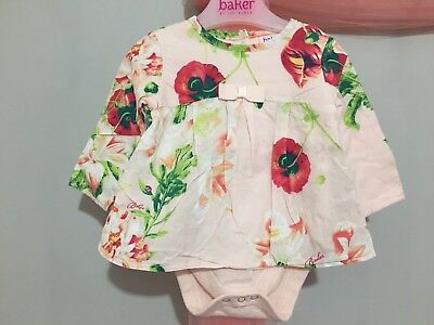Baby Girls Designer Ted Baker Floral Print Long Sleeve Top Built In Vest 3-6m🎀