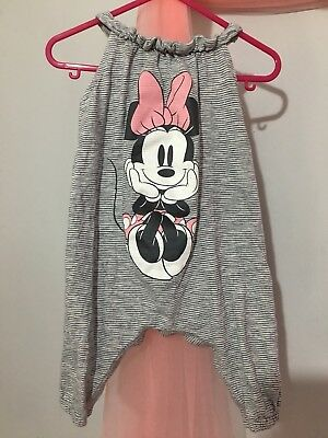 Cute Baby Girls Next Disney Grey Striped Minnie Mouse Summer Romper Suit 3-6m🎀