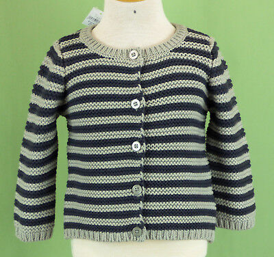 14bc1299 232 NWT baby GAP boy gray navy blue cardigan sweater long sleeve NEW 6-12