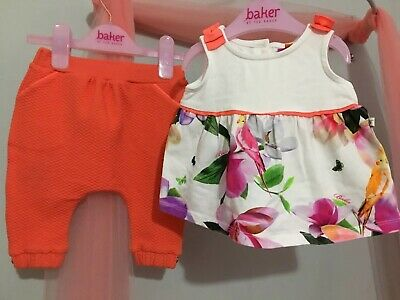 Baby Girls Designer Ted Baker Floral Print Top & Quilted Bottoms Outfit 3-6m💕