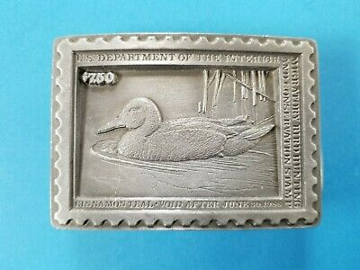 Vintage 1986 Cinnamon Teal Duck Belt Buckle Postage Stamp Ltd Ed 2036/5000 DS-4