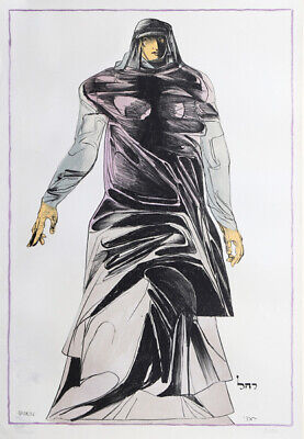"""A fine very large color lithograph by Leonard Baskin, pencil signed, """"Rachel"""""""
