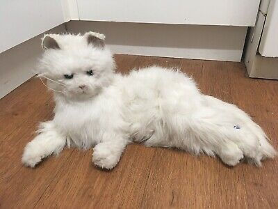 Fur Real White Cat Laying Large Lulu Fully Working (Needs Plastic Battery Cover)
