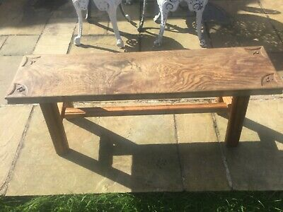 Victorian  Elm Top & Pitch Pine Bench On Trestle Stand Carved A P 1897