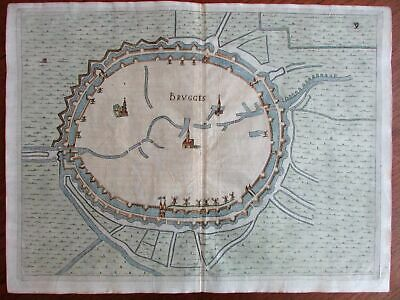 Bruges Belgium Low Countries 1673 Priorato city plan large map fortified walls