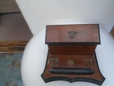 Edwardian wooden desk top organiser / writing box with letter rack & inkwells