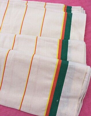 Unused Vintage French Linen Torchons Tea Towels Retro Green Red And Orange