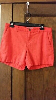 """Old Navy Mid Rise Linen Blend Shorts 5/"""" Red Orange HOT TAMALE Size 8 10 ~ NEW ~"""