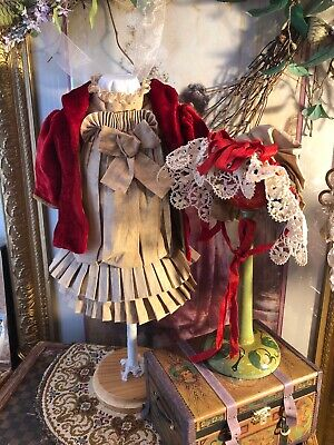 ~ Gorgeous!! Antique Style Vintage 3pc Child Doll French Style Fashion ~